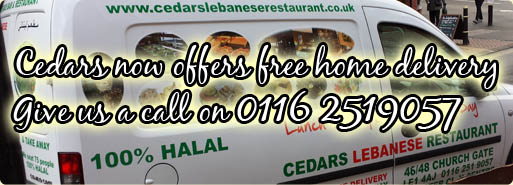 Free home delivery from Cedars Lebanese